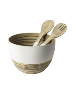 Schaalø22cm+Saladecouvert Bamboe W