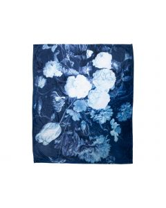 Plaid bloemen 130x160cm blauw