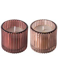 Kaarsen ribbelglas ø7cm roze - set 2 stuks