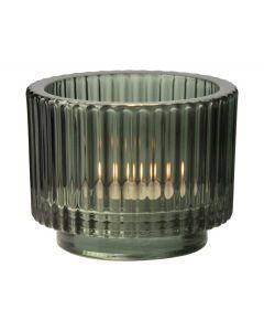 Theelichthouder glas ø9x7cm groen