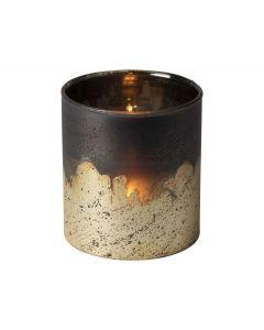 Theelichthouder ø10x10cm koper/zilver