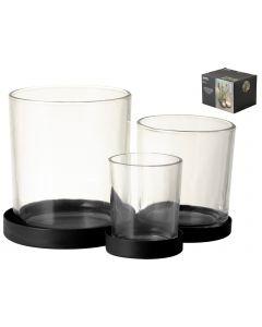 Metalen houder met 3 glaasjes Zwart
