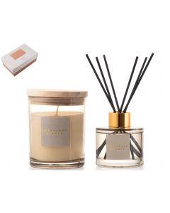 Giftset kaars/diffuser honey & amber