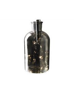 Decoratie fles LED ø10x20cm Zilver